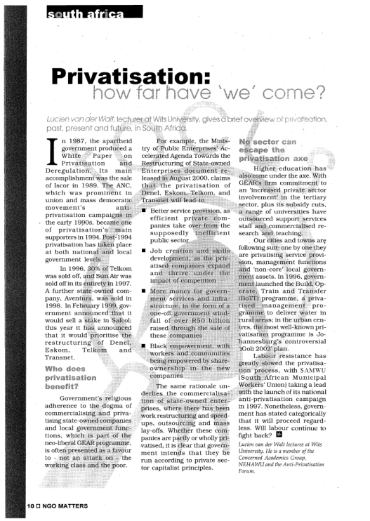 van der Walt - Privatisation - how far have 'we' come - ICON