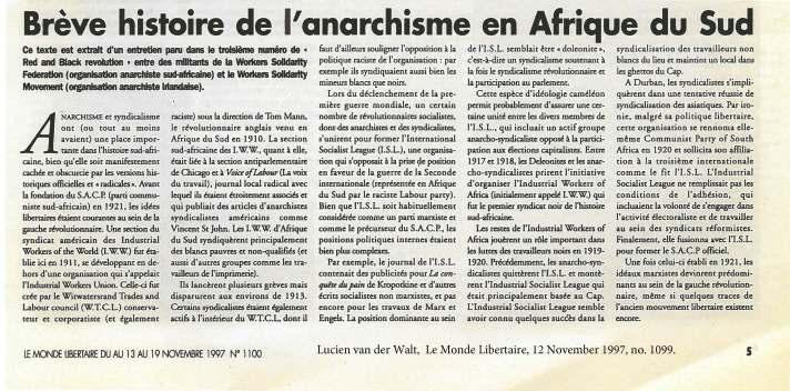 van der Walt - Breve Histoire de l'anarchisme en Afrique du Sud [1997]