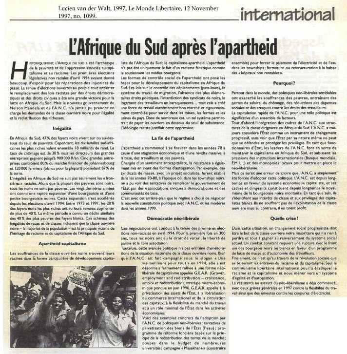 van der Walt - L'Afrique du Sud apres l'apartheid
