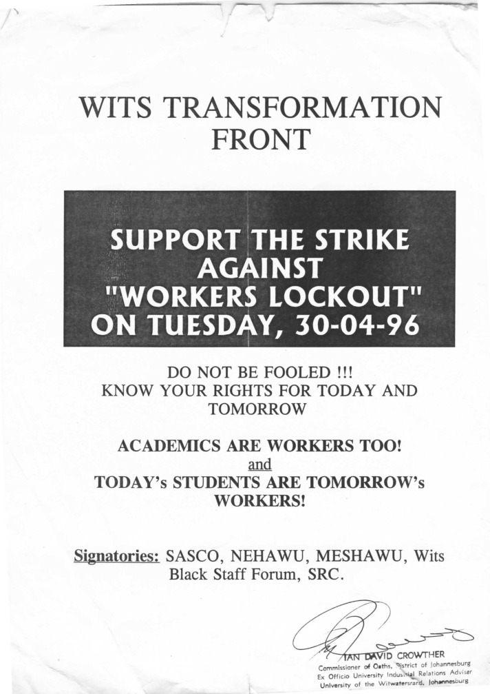 1996 protests Wits posters003