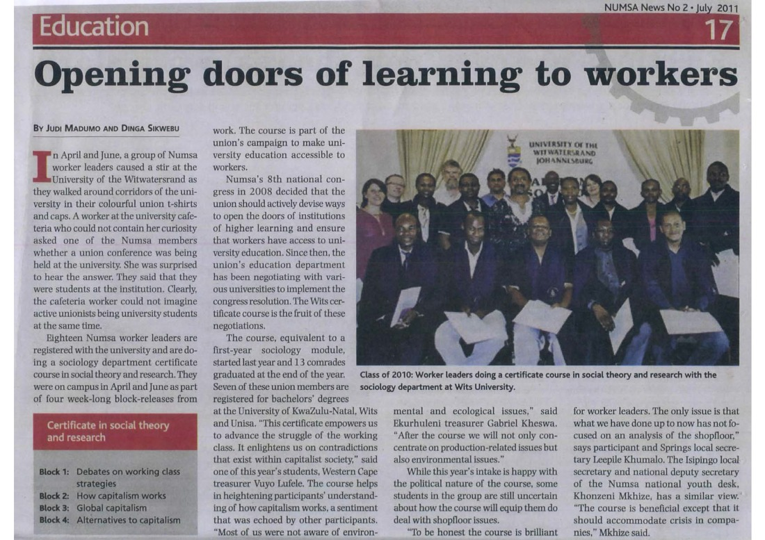 NUMSA News 2011 - article on Wits NUMSA course